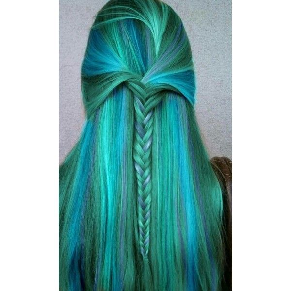 Blue+green mermaid hair color Feeling a Little Blue/Green ❤ liked on Polyvore featuring hair