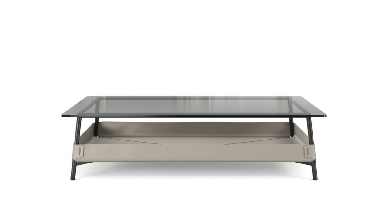 Cocktail table with top in 12mmthick smoked glass steel