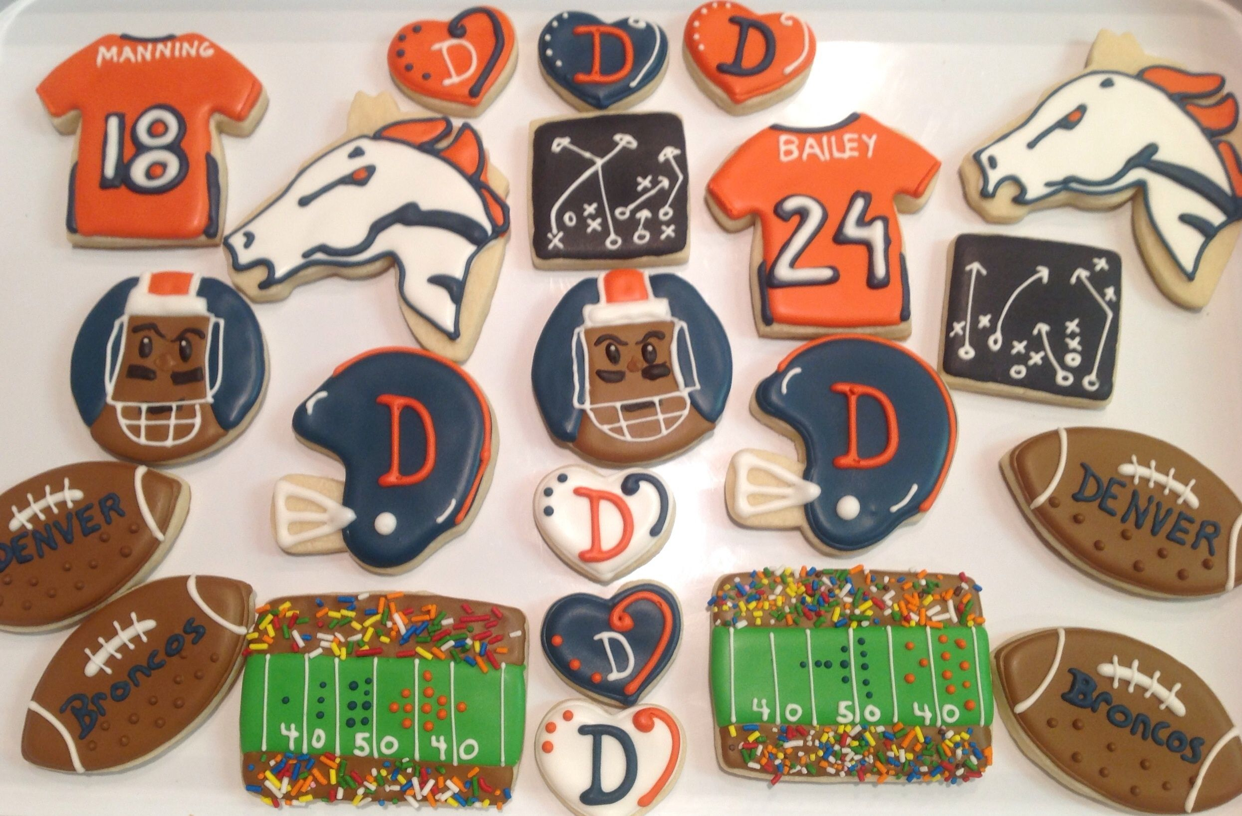 Denver Broncos Football Platter - Decorated Sugar Cookies by I Am
