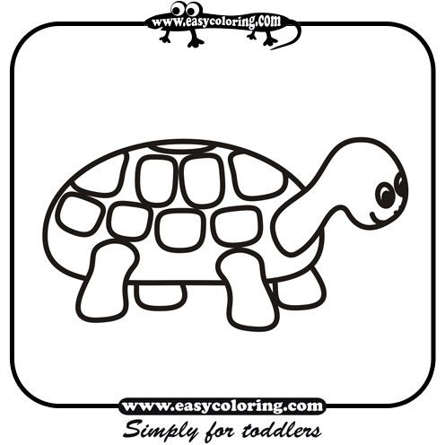 Turtle Simple Coloring Animals Easy Coloring Animals For