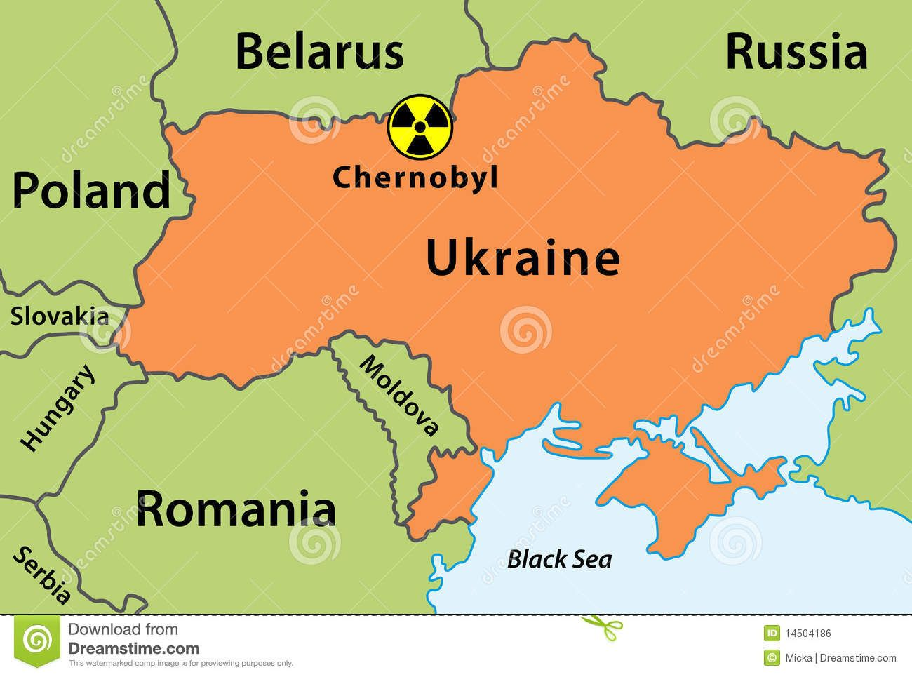 The town of Chernobyl is in Ukraine and situated near borders with