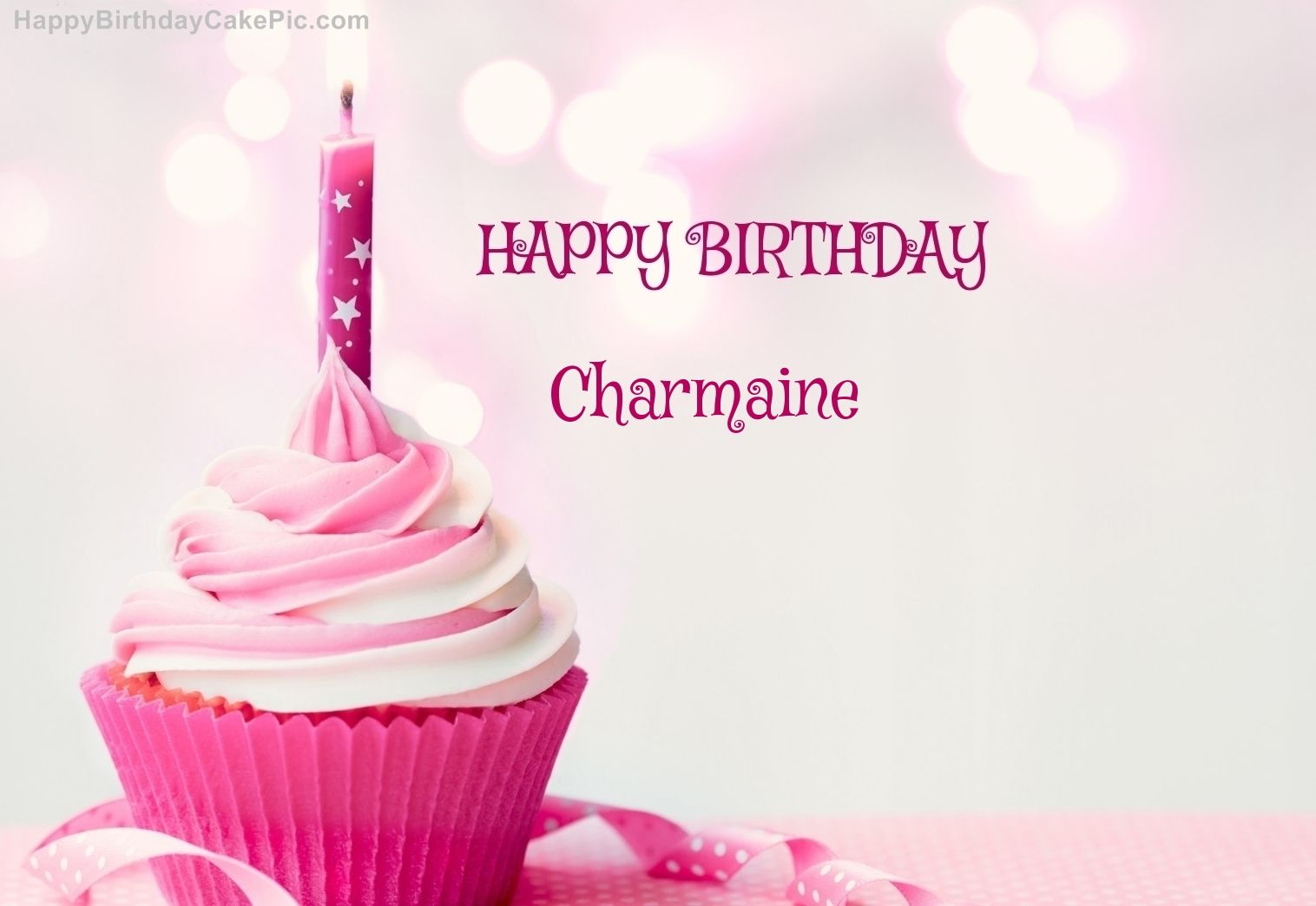 Write Name On Happy Birthday Cupcake Candle Pink Cake B Days With