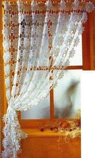 Штора вязаная крючком | crochet | Pinterest | Cortinas, Cortinas de ...