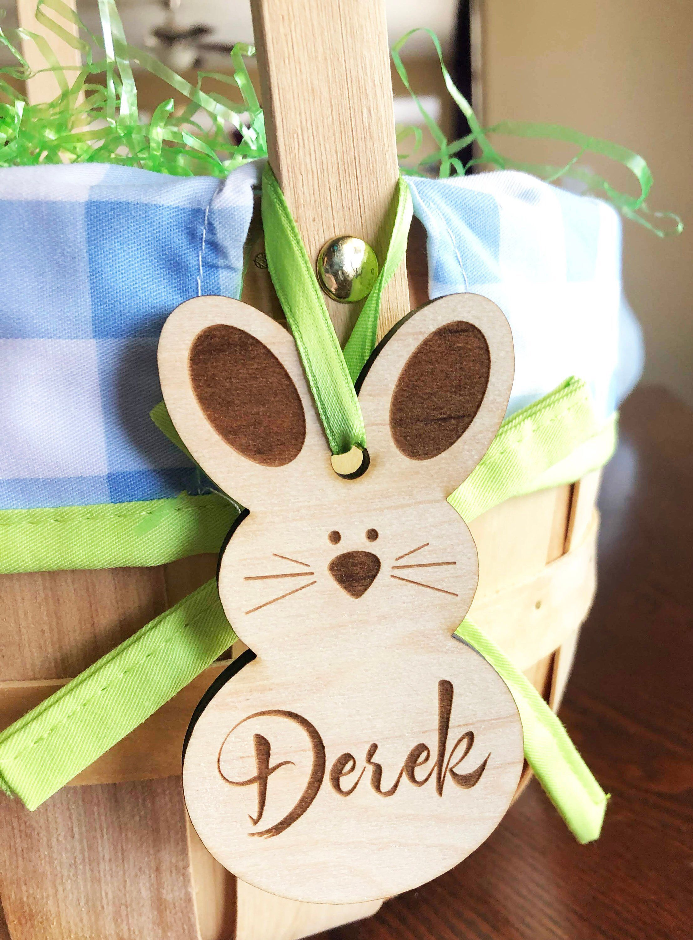 egg ornament bunny Easter basket tags personalized Bunny with name wood name tags
