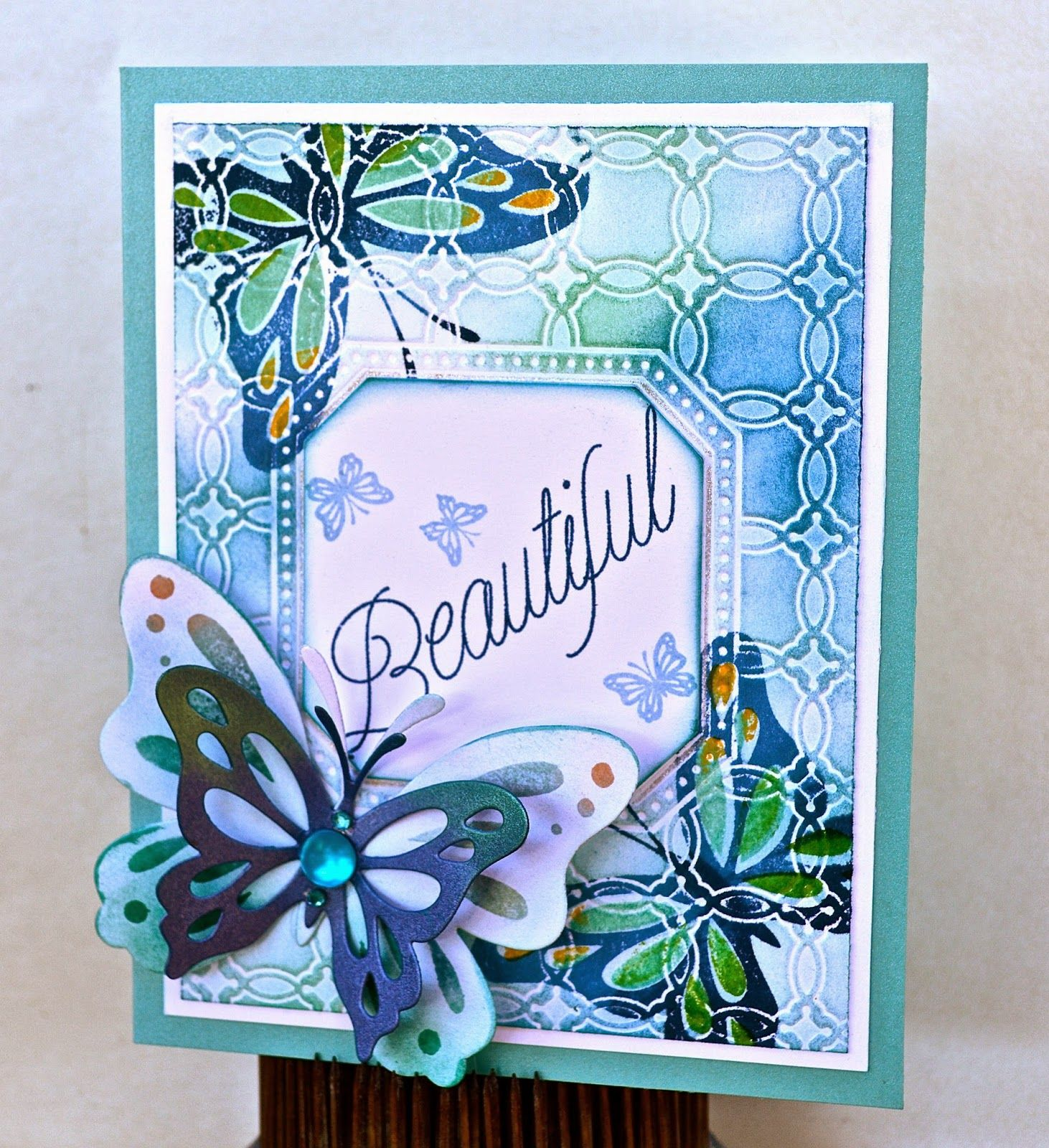 1) Embossing folder/impression plate  2) chalks  3) stamping on top of  4) embellish