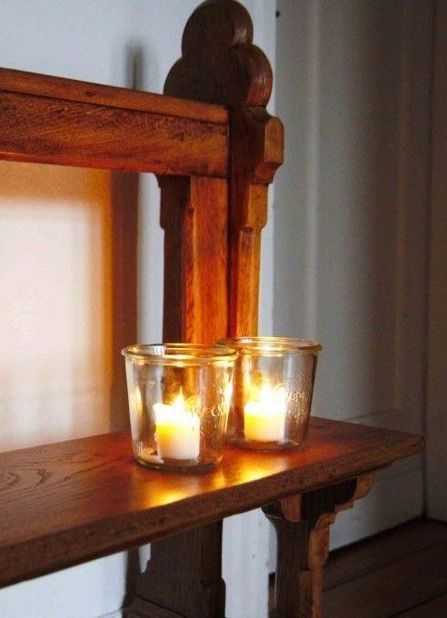Weihnachtsdekoration mit Weckgläsern #weihnachten #dekorieren #kerzen #einmachglas #weckglas #weckgläserdekorieren
