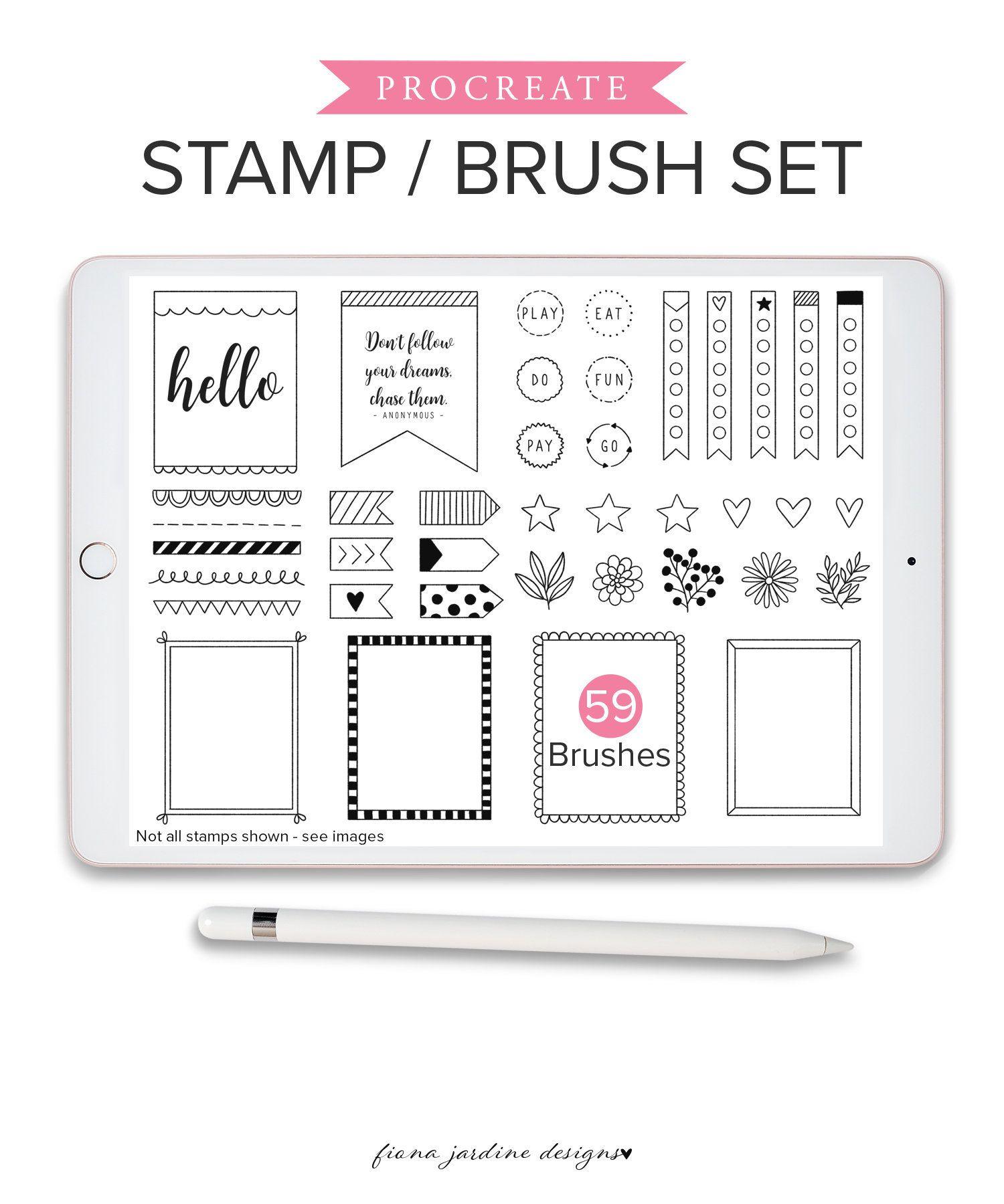 Procreate Bullet Journal Stamp Set Procreate Brushes Full Procreate Brush Set of Journaling Doodles