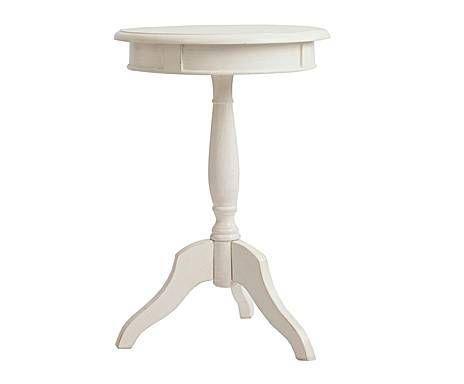 Dulce elegancia: Mesa auxiliar de madera de pino redonda – blanca ...