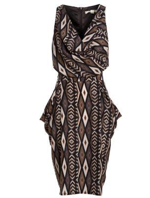 Uttam Boutique Grey and Brown Geo Print Cowl Neck Dress