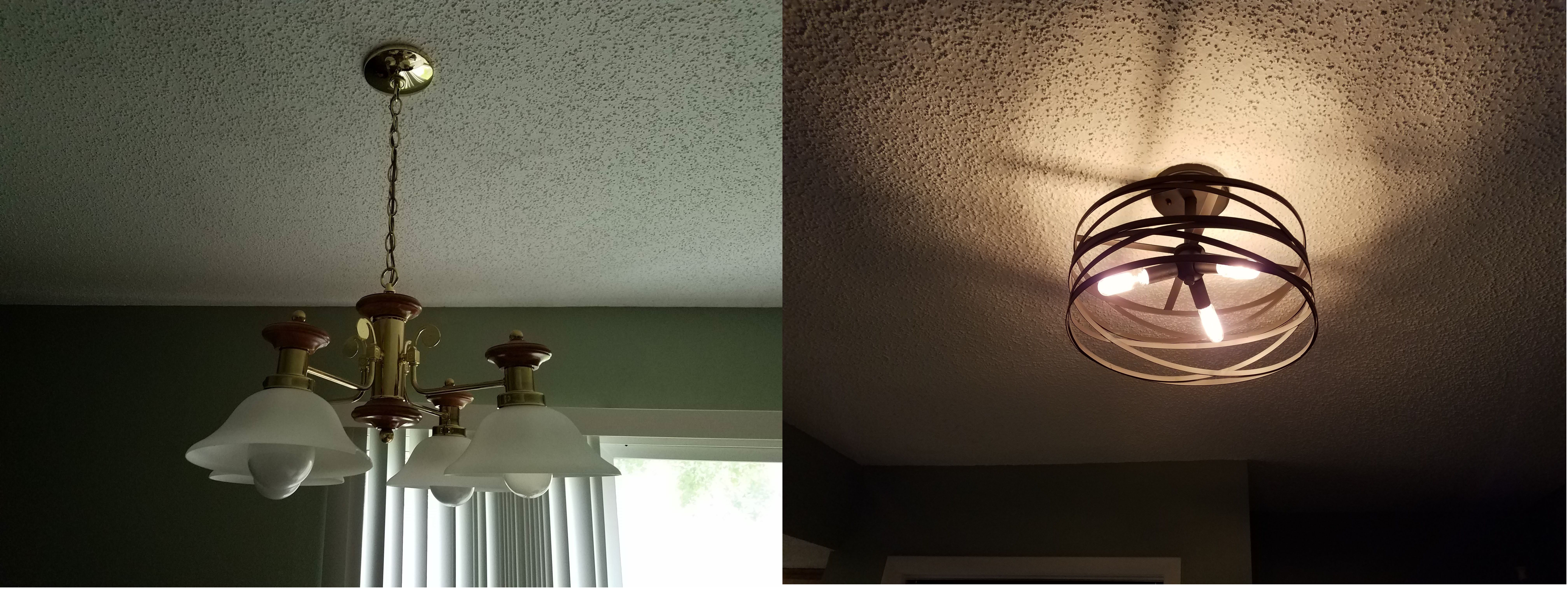 Before and after replaced dining area light. Ceiling