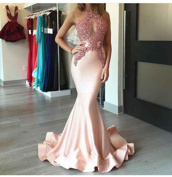 Unique Light Pink Satin Lace Mermai | Dresses | Pinterest | Kleider ...