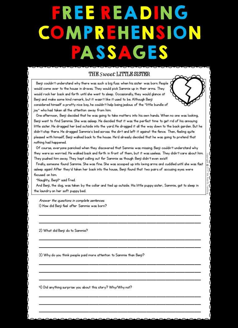 Free Reading Passages Reading Comprehension Passages Third Grade Reading Comprehension Free Reading Passages [ 1056 x 768 Pixel ]