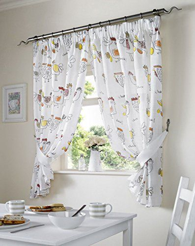 Chickens Kitchen White Net Curtains Red Natural 46\