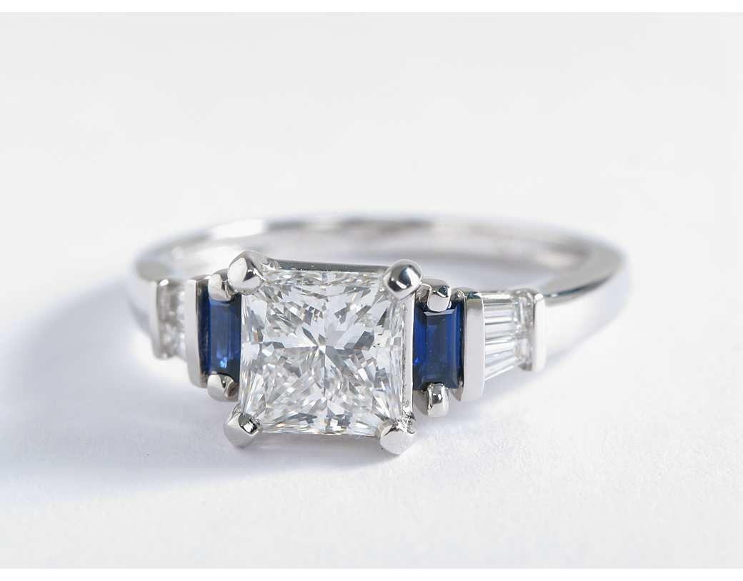 15 Carat Diamond Robert Leser Baguettecut Sapphire And Diamond Engagement  Ring  Blue Nile