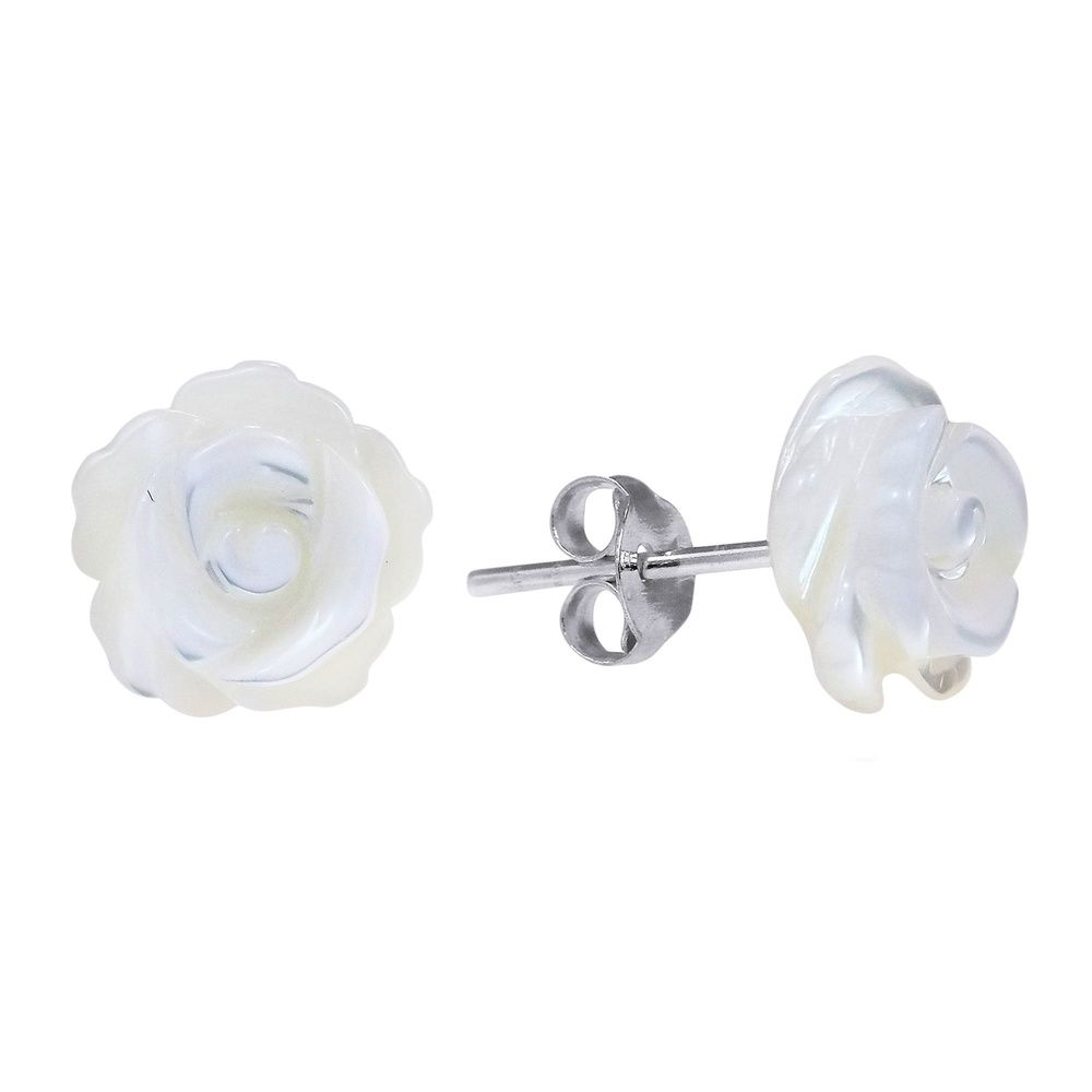 Rose of Innocence Carved MOP .925 Silver Earrings (Thailand) - Overstock™ Shopping - Great Deals on Aeravida Earrings