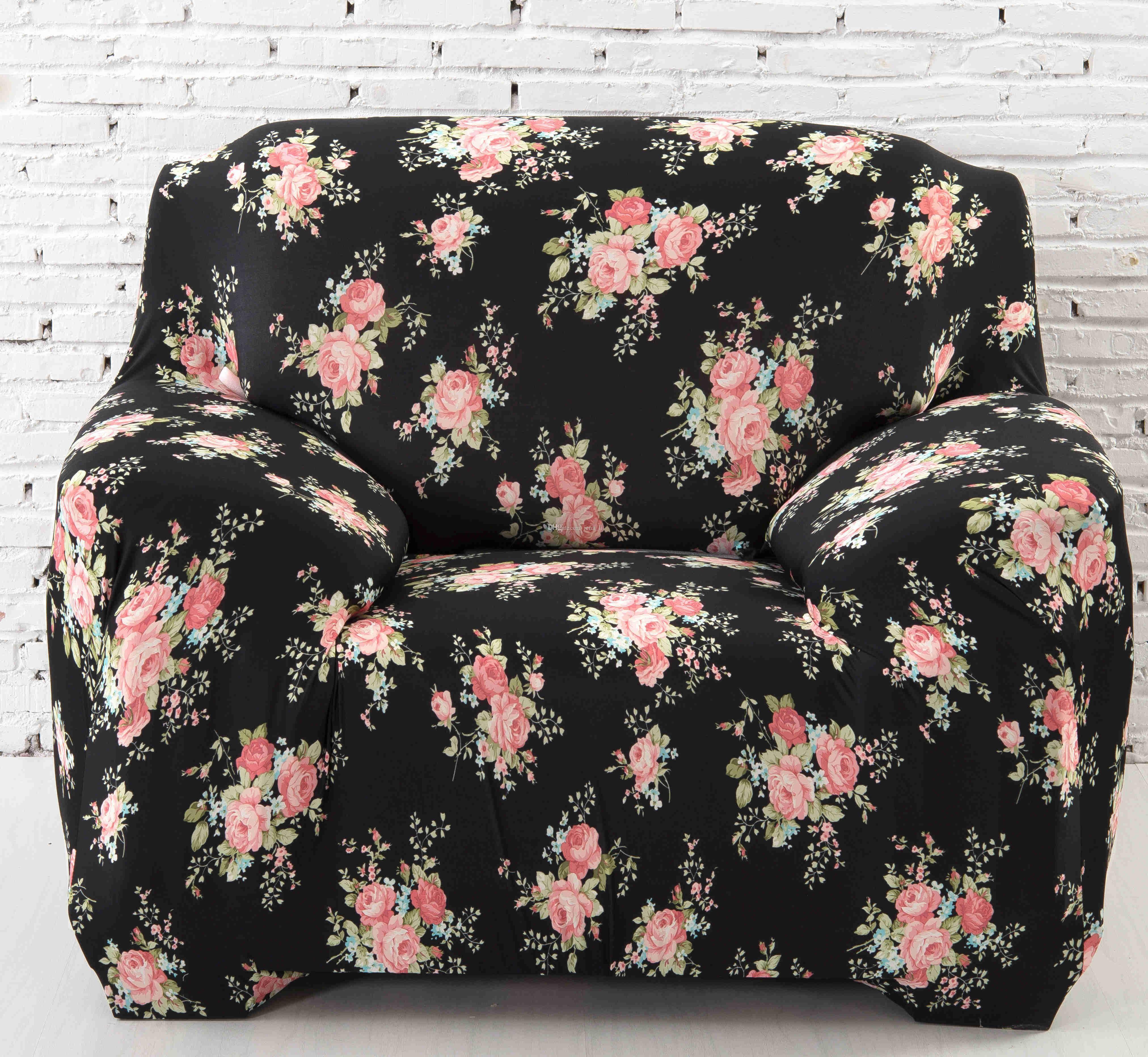 Elastic Sofa Cover Spandex Fabric Sofa Cover Stretch Sofa Slipcover Black Rose Dropship Dining Chair Slipcovers Slipc Printed Sofa Fabric Sofa Cover Slipcovers