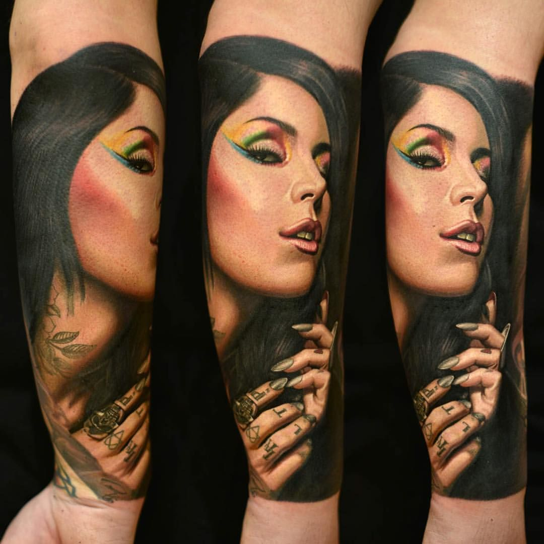 Flower Tattoo Kat Von D: Kat Von D Portrait Tattoo By Nikko Hurtado