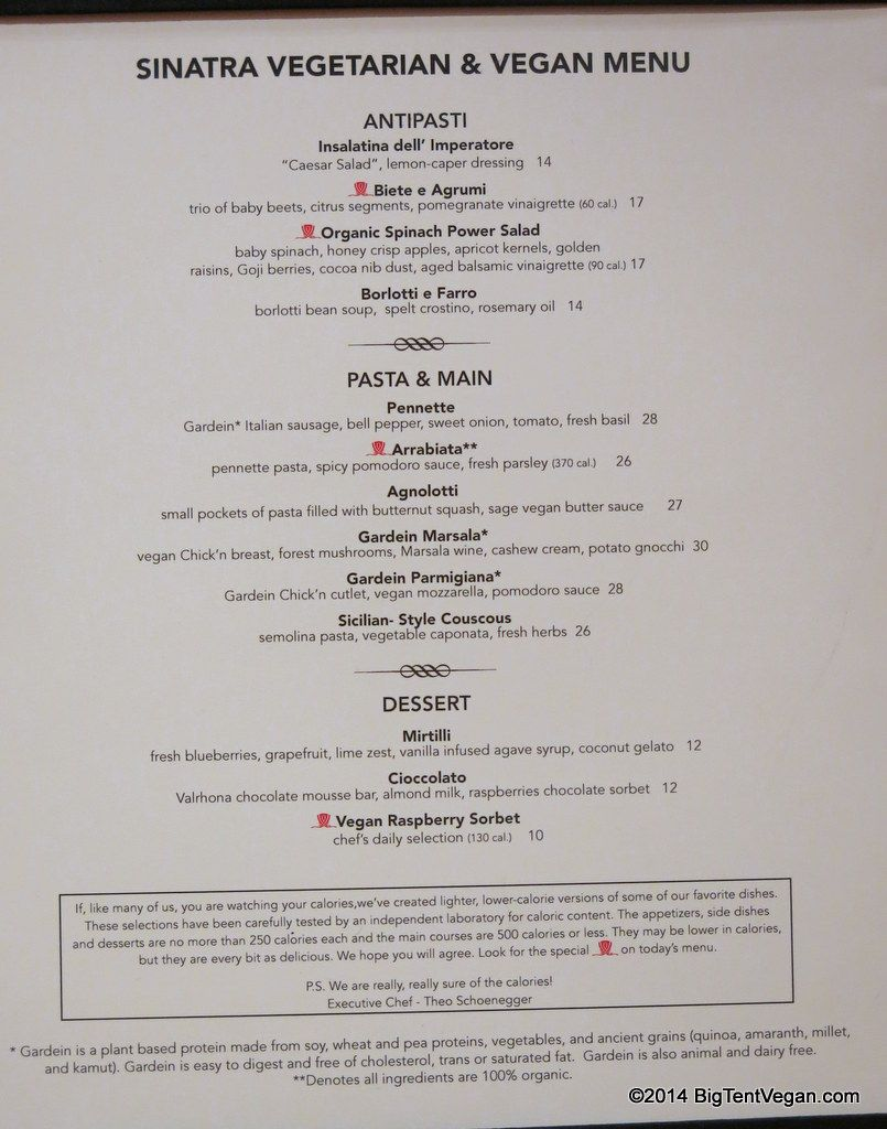 Sinatra At The Wynn Veg Vegan Menu As Of Dec 2014 Vegan Vegan Menu Vegan Las Vegas Trip