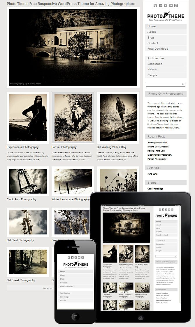 Photo theme responsive free wordpress template : dessign.net ...