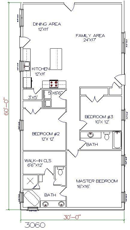 barndominium floor plan 3 bedroom 2 bathroom 30x60. 30 Barndominium Floor Plans for Different Purpose   Chang e 3