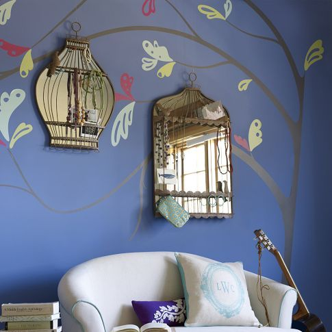 fun spring idea for any room...spring leaves + mirror birdcages