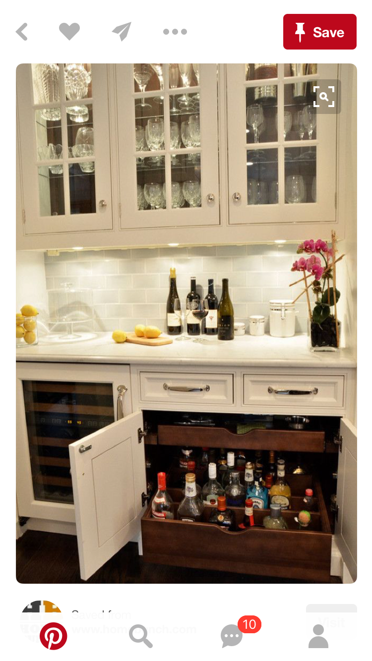 Perfect For My Coffee Bar Idea Too Butlers Pantry Wet Cabinet Design Custom Pullouts Were Designed To Hold Liquor Bottles Upright With Adjustable