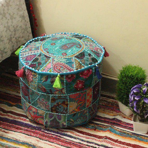Ethnic Decor Pouf Antique Saree Pouffe Foot stool Round Poof Floor Pillow Ottoman