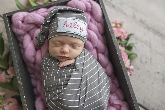 264a8c3b143 Personalized Newborn Hat - baby boy - baby shower gift - newborn prop -  GRAPHITE STRIPE
