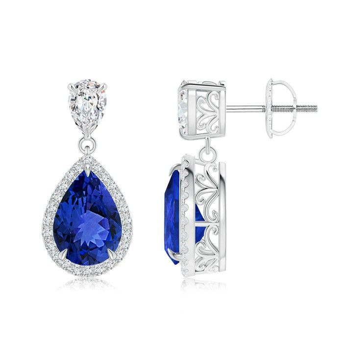 Angara Pear Shaped Tanzanite Drop Earrings in Yellow Gold