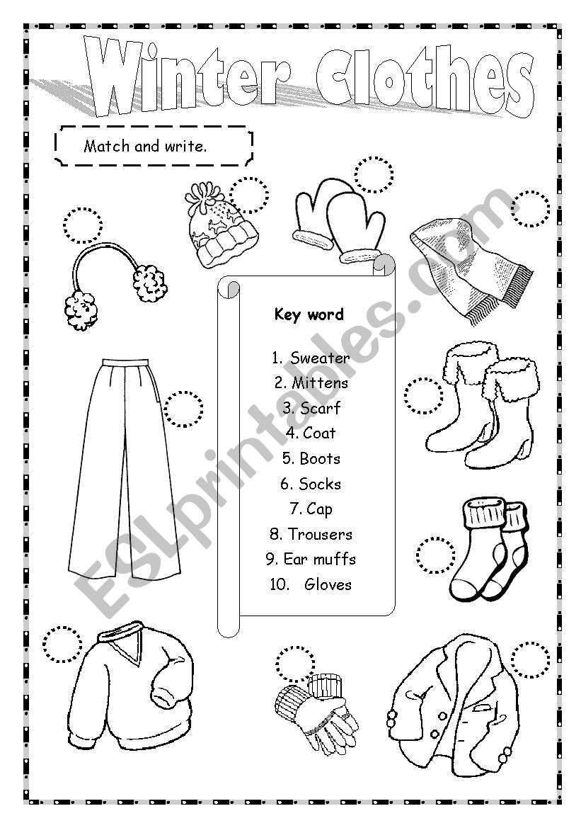 Match Winter Outfits Vocabulary Worksheets Worksheets [ 1169 x 821 Pixel ]