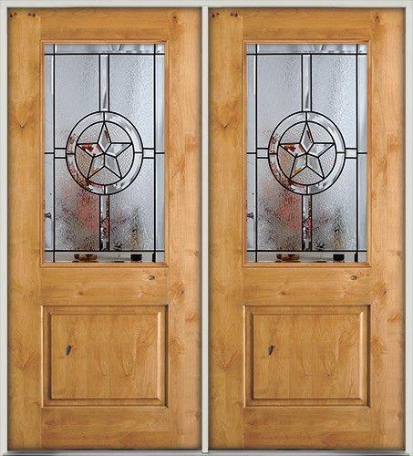 Half Lite Star Knotty Alder Double Door Front Entry Door
