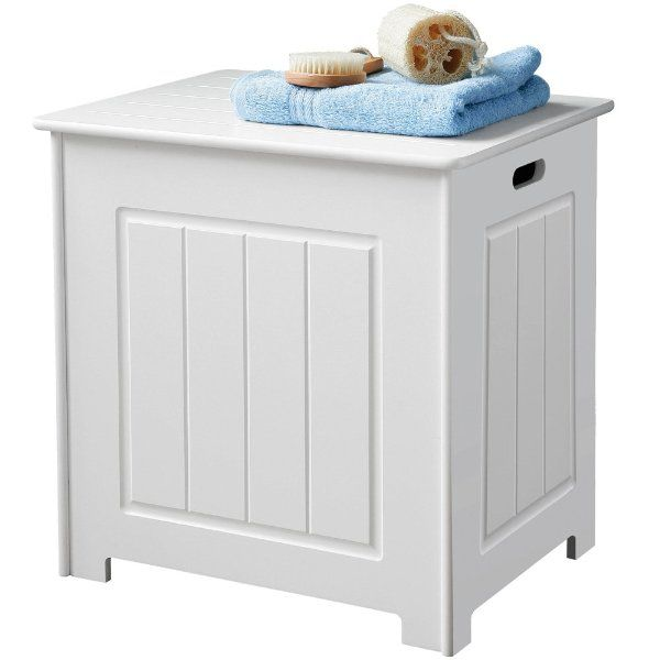 White Bathroom Laundry Storage wooden storage stool / laundry bin - white:amazon.co.uk:kitchen