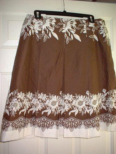 Ann Taylor Loft Petite Skirt 12P Brown White Floral Lined Pleats Below Knee | eBay