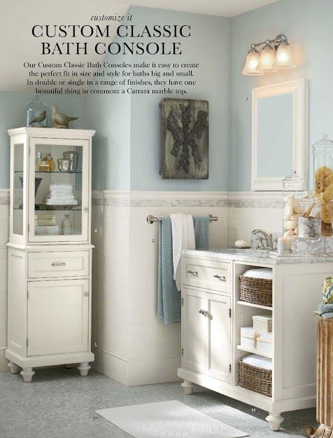 Modular Bath Base Feet White Pottery Barn And Color Tile - Pottery barn bathroom storage for bathroom decor ideas