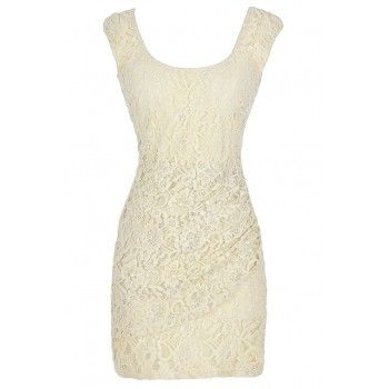 Lily Boutique Cream Lace Bodycon Dress Ivory Rehearsal Dinner