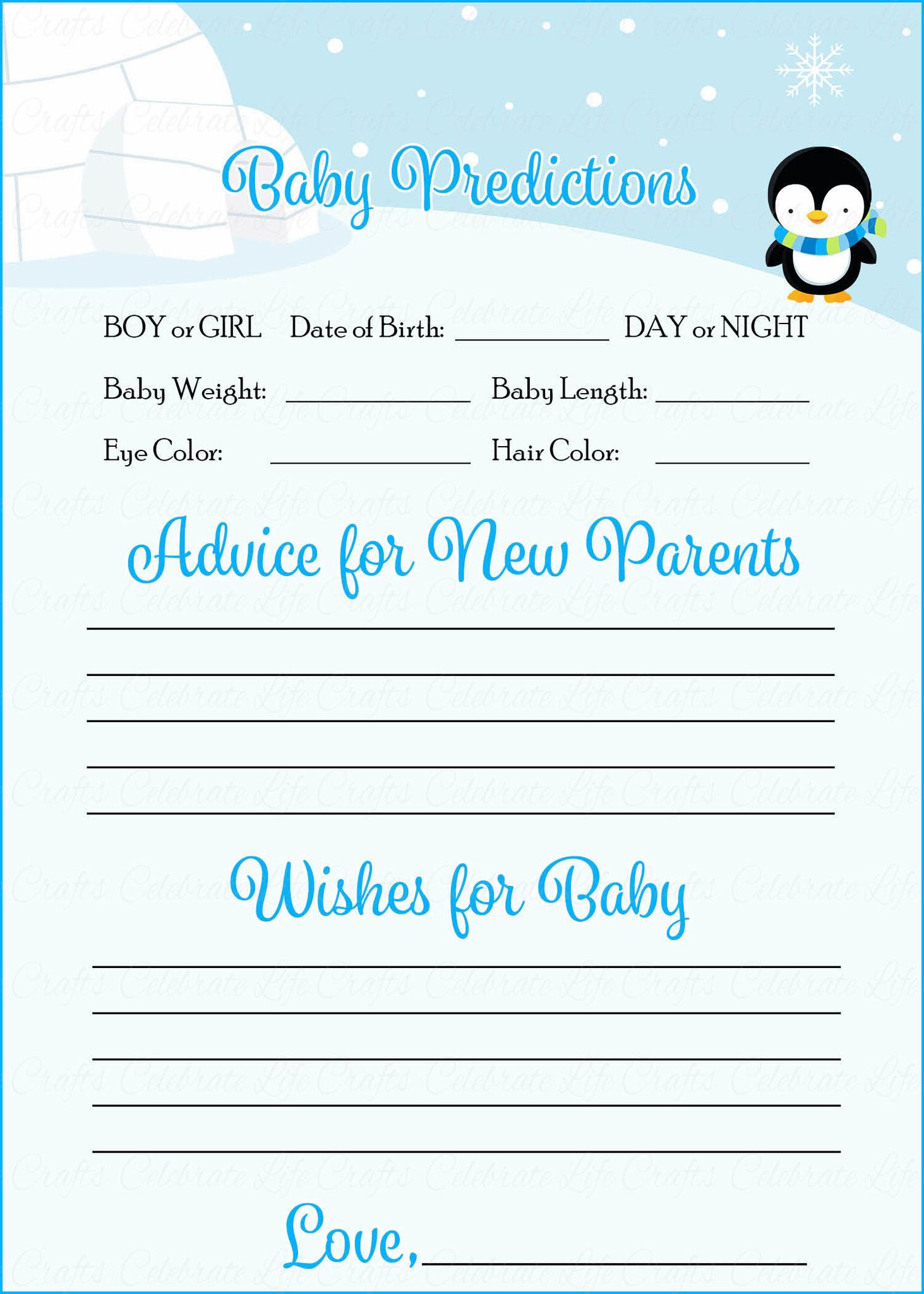 Baby Shower Prediction U0026 Advice Cards Provide Both A Fun Activity At Your Baby  Shower And