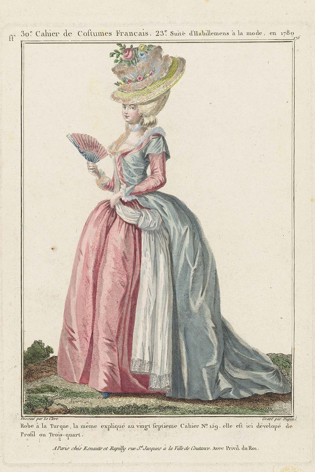 Robe à la Turque, la même expliqué au vingt septieme Cahier No. 159, elle est dévelopé de Profil ou Trois-quart.