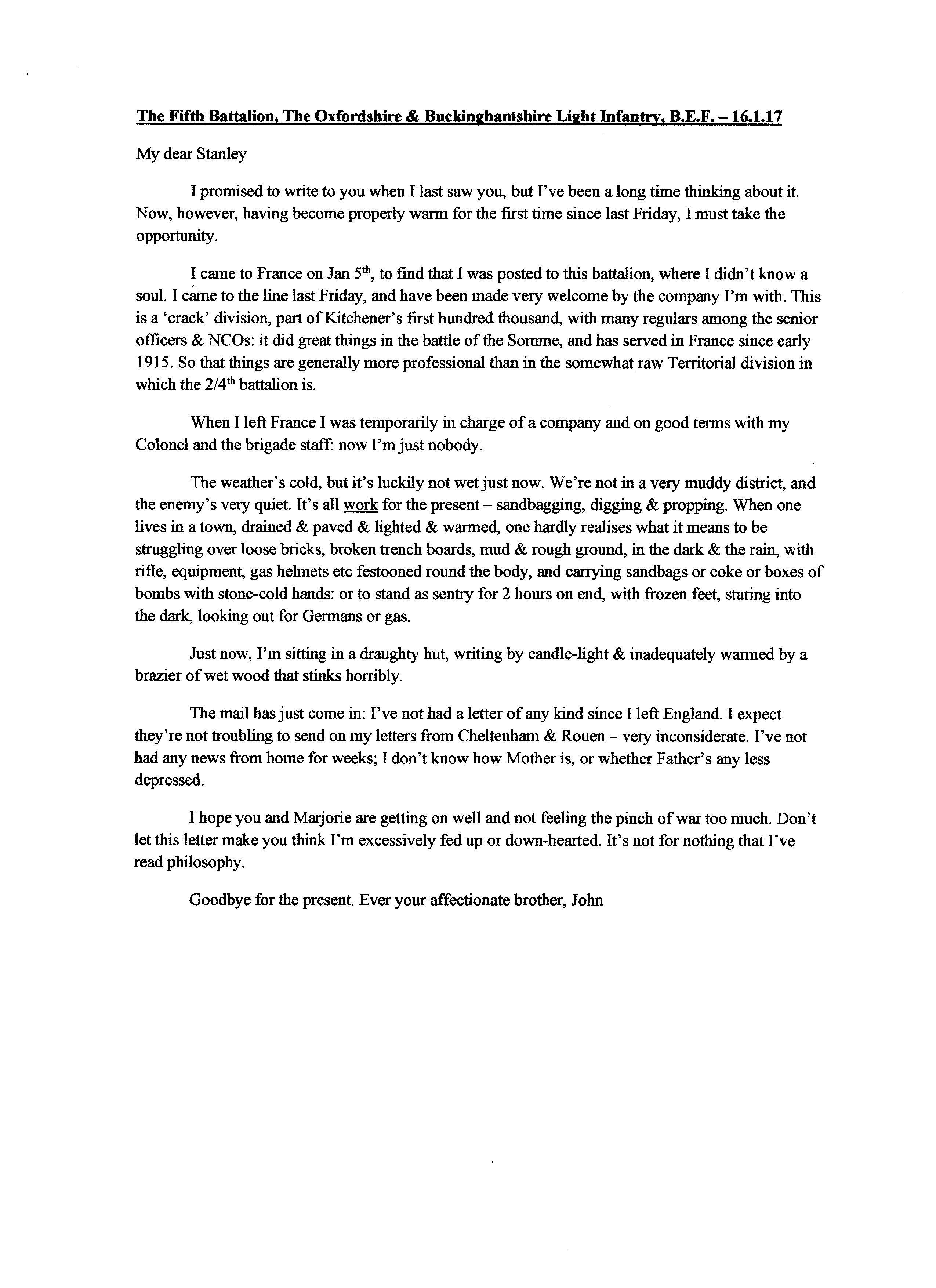 Letter from John Legge Bulmer 16th Jan 1917 | John Legge Bulmer ...
