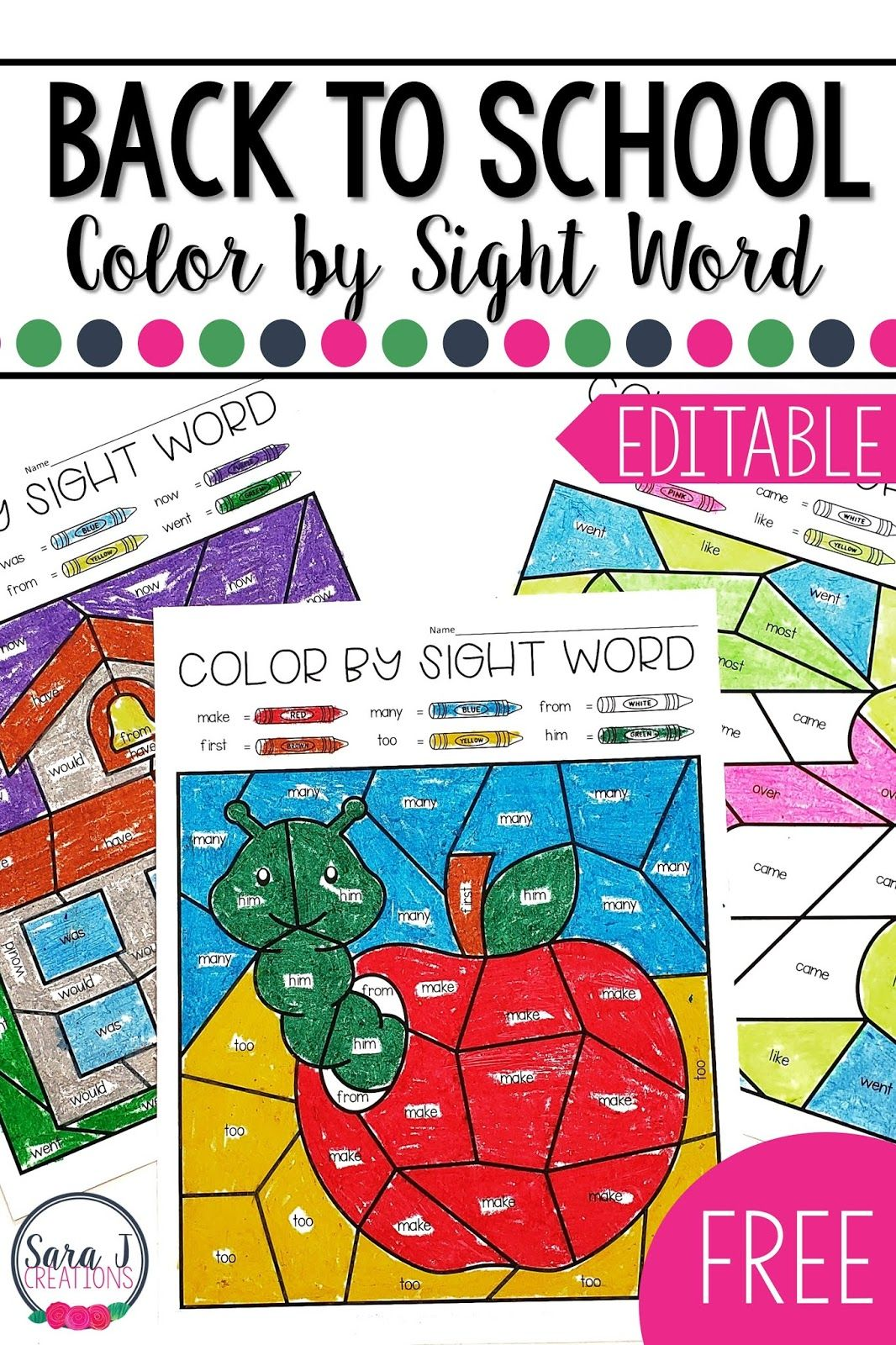 Editable Color By Sight Word For The Whole Year