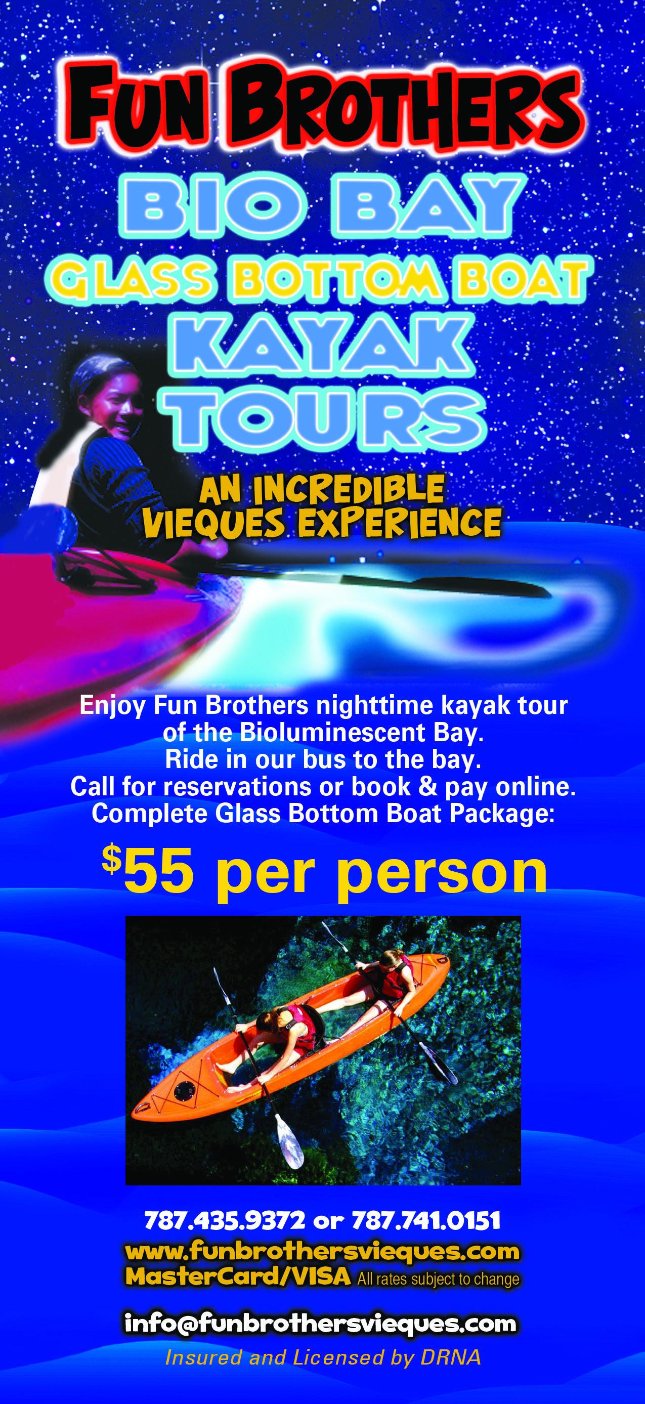 Fun Brothers Kayak Tours Glass Bottom Boat Fun