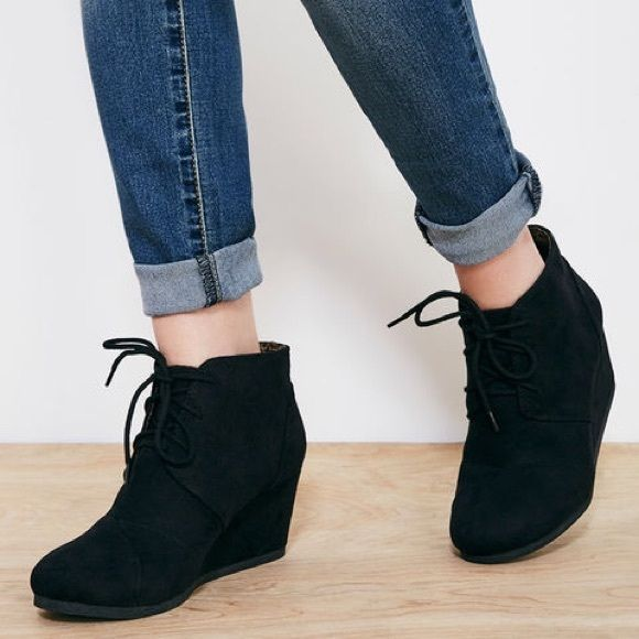 Black wedge booties Super stylish black wedge booties. Size 8; gently used Shoes Ankle Boots & Booties