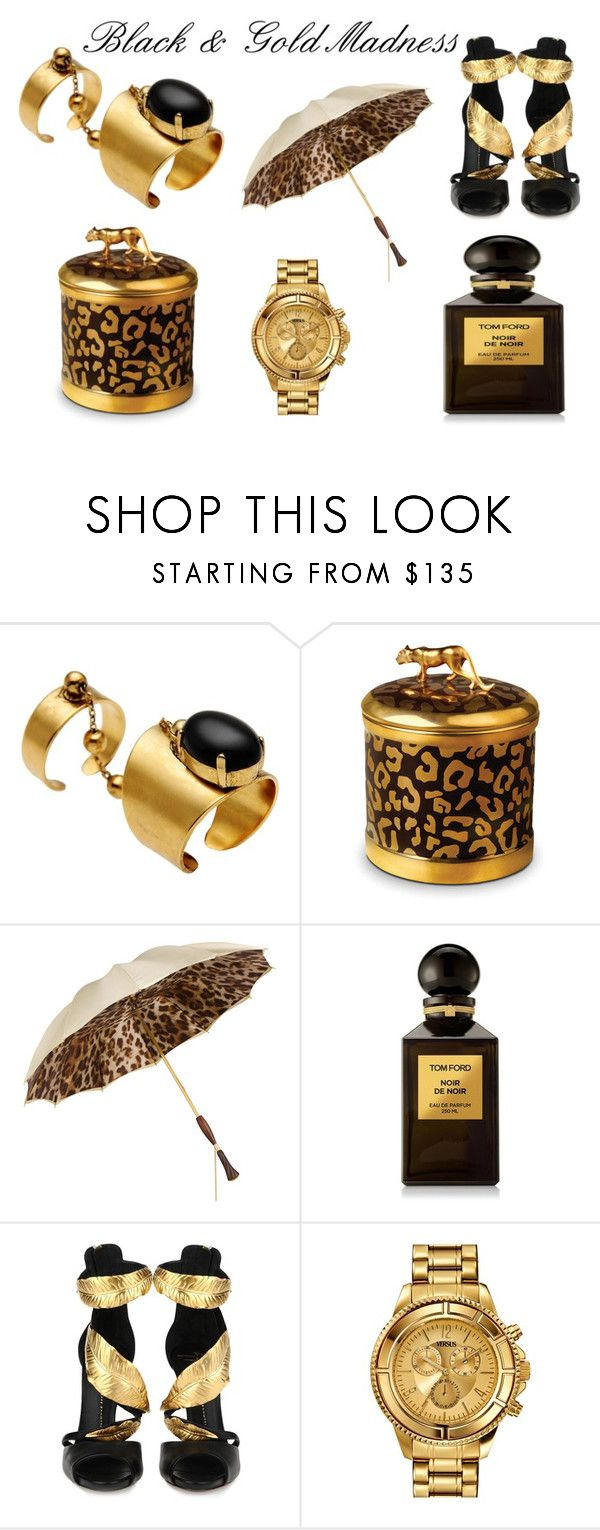 """""""Black & Gold Madness..."""" by divanna15 on Polyvore featuring moda, Ela Stone, L'Objet, Persol, Tom Ford, Giuseppe Zanotti y Versus"""