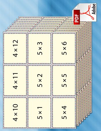 A set of printable multiplication flash cards for kids based ...