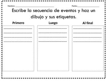 beginning middle end in spanish principio mitad final school ideas literacy beginning. Black Bedroom Furniture Sets. Home Design Ideas