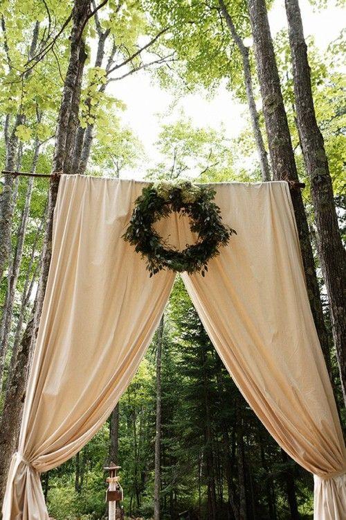 simple curtain backdrop. wedding ceremony decor.