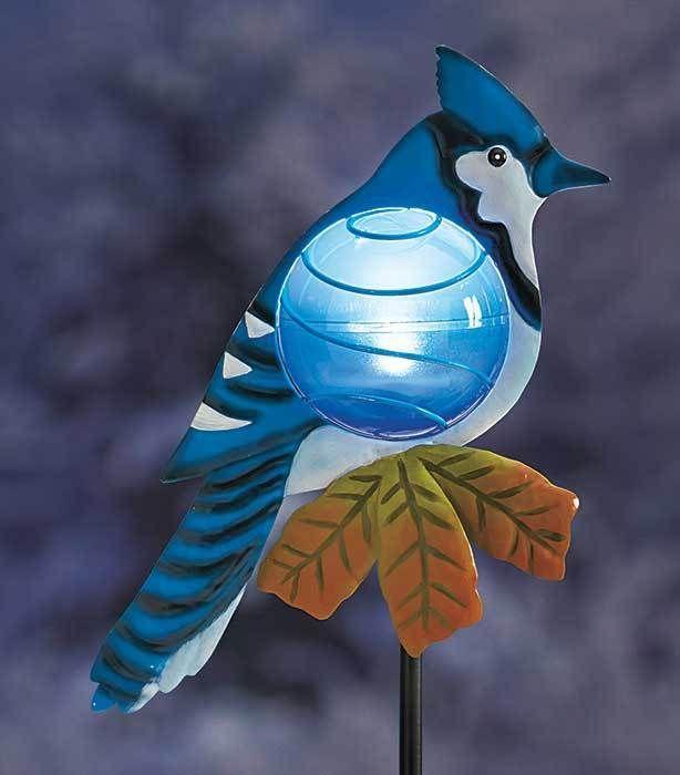 Blue Jay Solar Light Bird Stake Garden Yard Lawn Flower Bed Outdoor Home  Decor