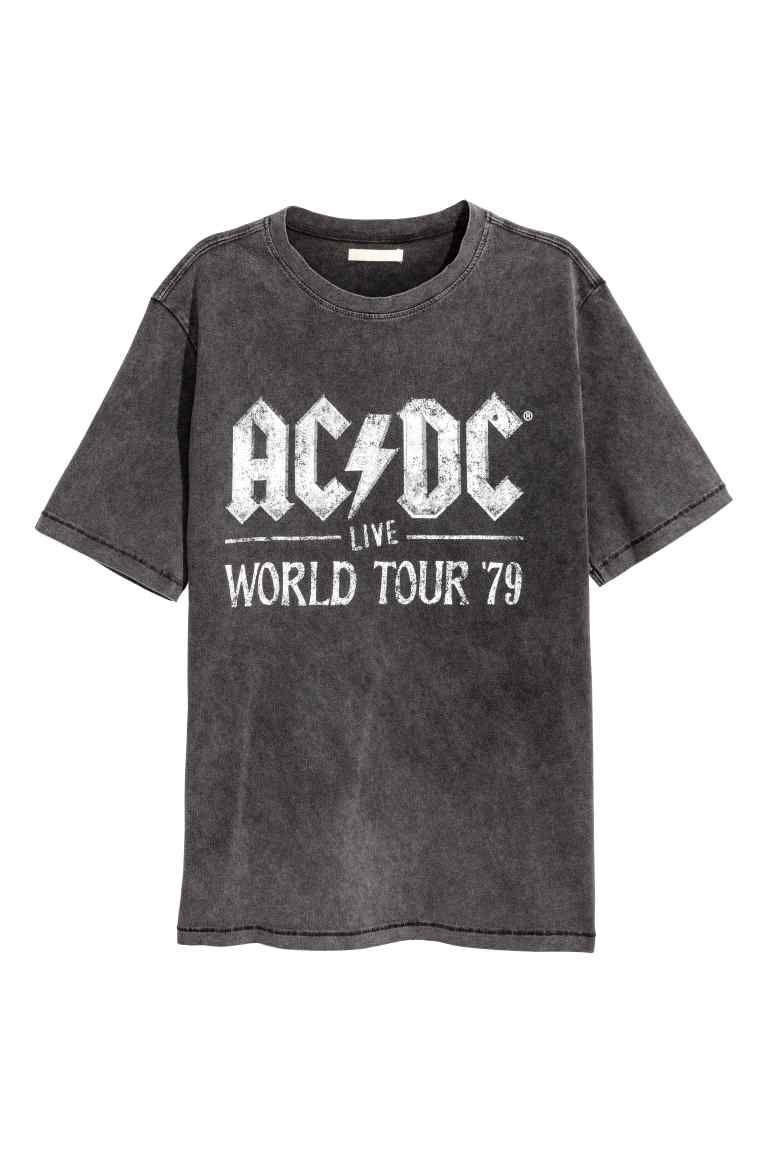 26557765 T-shirt délavé avec impression - Noir AC/DC - FEMME | H&M FR T-shirt avec  impression 29,99 €