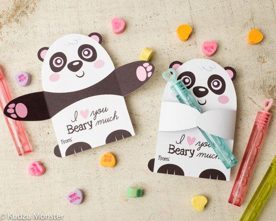 printable panda bear candy or gift hugger por kudzumonster