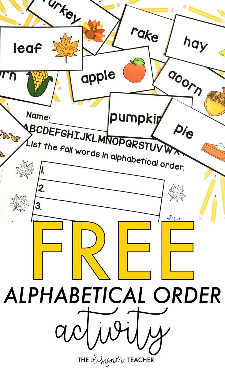 FREE Fall Alphabetical Order Activity Center   Alphabetical order  activities [ 1200 x 735 Pixel ]