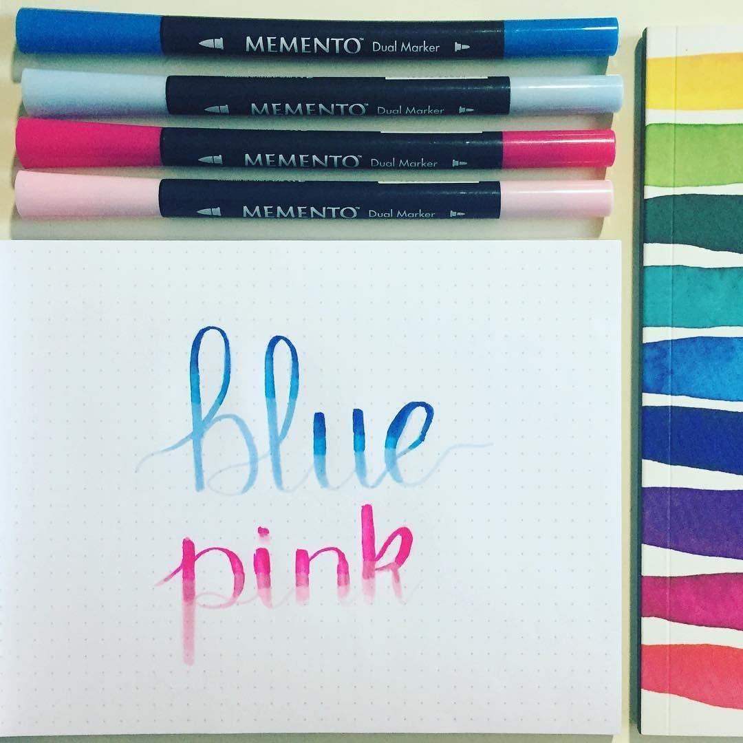 Buenos días desde el club!  . Rotuladores: memento dual marketing. Papel: Rhodia dotpad Cuaderno: Notes de @porticodesigns . . #lettering #aprenderlettering #brushlettering #aprendelettering #blender #fb #elclubdellettering #ecdlettering #blue #pink #letteringenespañol